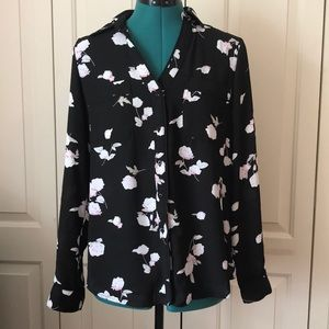 NWT Candie's Black Floral Sheer Button Down